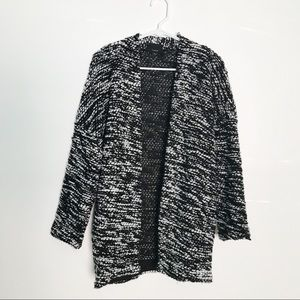 Lumiere Black and White Chunk Knot Cardigan